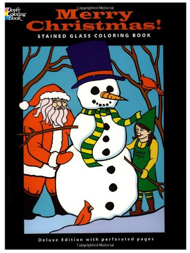 Merry Christmas! Stained Glass Coloring Book (Holiday Stained Glass Coloring Book)
