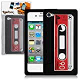 Tigerbox Retro Silicone Cassette Tape Style Case Cover Skin For Apple iPhone 4 / 4S With Screen Protector (Black)