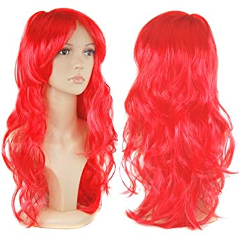World Pride Women's Long Curly Fancy Dress Wigs Red Cosplay Costume Ladies Wig Party