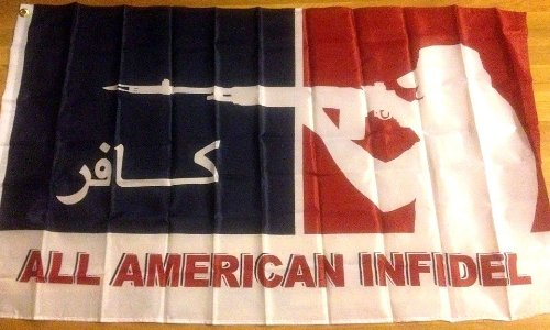 ALL AMERICAN INFIDEL FLAG, 3'x5' banner