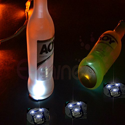 Glovion 3pcs/lot Light up Led Flashing Bottle Sticker Cup Mug Coaster (Sticker It Under Your normal Glass) (White)