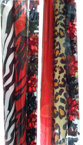 Animal Print Assortment ~ Christmas Gift Wrap Set with Bows & Ribbon