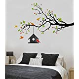 Rawpockets Heart-in Flower Tree With Bird Cage' Wall Decal Sticker