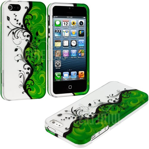 "Mylife Black + Green Vines And Swirls Series (2 Piece Snap On) Hardshell Plates Case For The Iphone 5/5S (5G) 5Th Generation Touch Phone (Clip Fitted Front And Back Solid Cover Case + Rubberized Tough Armor Skin) ""Additional Details: This Two Piece Clip T"