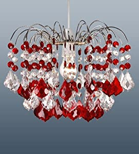 48 Acrylic Crystal Claret Polished Chrome Droplets Pendant Ceiling Light Shade - Dark Red