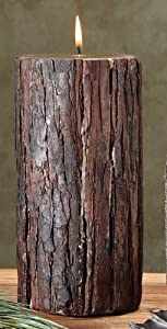 Pack of 2 Realistic Looking Fir Bark Evergreen Scented Pillar Candles 9""