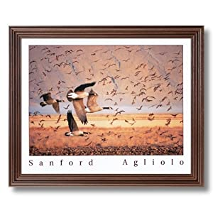 Canadian Geese Flying Hunting Animal Wildlife Cabin Lodge Picture Framed Art Print