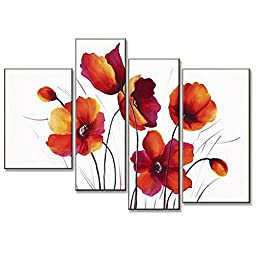 Neron Art - Red Poppy Flowers Meadow Floral Oil Paintings Set of 4 Panels on Gallery Wrapped Canvas 34X24 inch (86X61 cm)