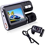 DBPOWER HD 1280*720 X2 Dual Lens Dashboard Car Vehicle Camera Video Recorder DVR G-sensor