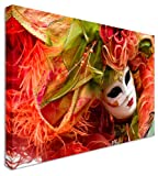 Venice Carnival Mask & Silk City Canvas Wall Art Picture Large 12x16 inches