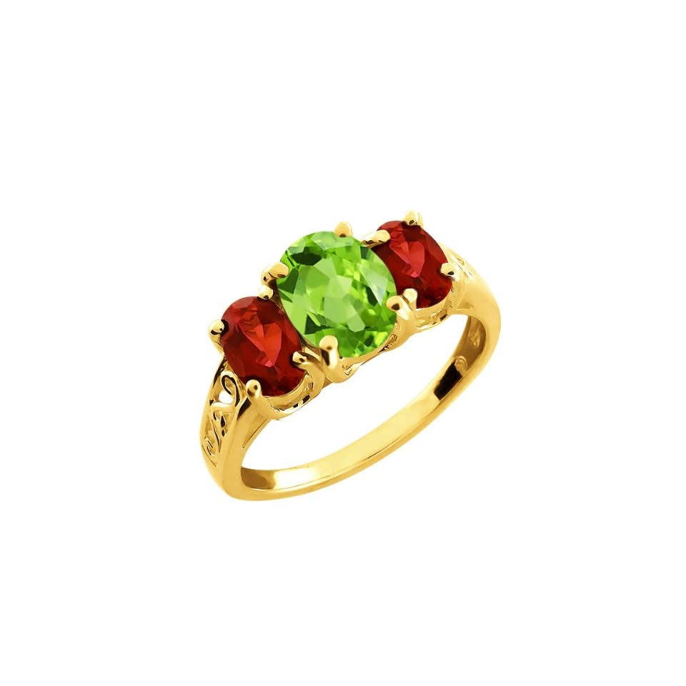 2.25 Ct Oval Green Peridot and Garnet Gold Plated Sterling Silver Ring