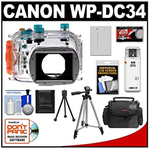 Canon WP-DC34 Waterproof Underwater Housing Case with Battery + Case + Tripod + Accessory Kit for PowerShot G11 & G12 Digital Camera