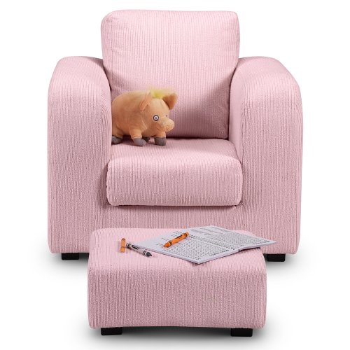 childrens armchair soft furniture kids chair footstool pouffe pink cord armchairs. Black Bedroom Furniture Sets. Home Design Ideas