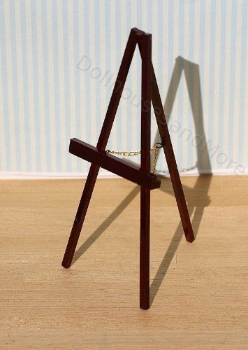 Dollhouse Miniature Wood Easel in Mahogany