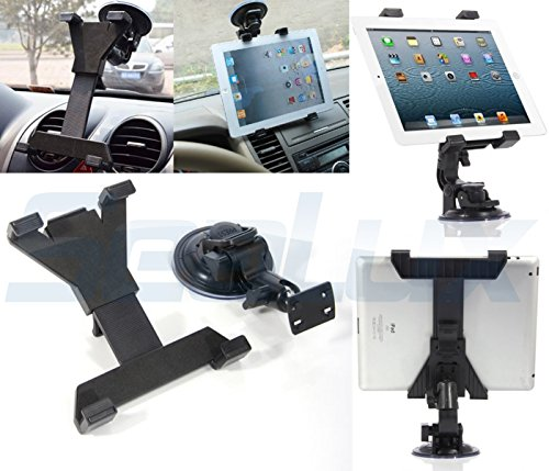 SeaLux Universal 360 degree Adjustable Rotatable Windshield Car Mount Window / Desk Tablet Holder Stand Dock for IPad and any tablets from 7 to 12 inch