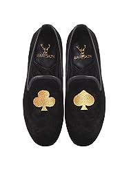 Bareskin Poker Special Mens Handmade Black Velvet Slipon With Golden Embroidery - Limited Edition(Made On Order)