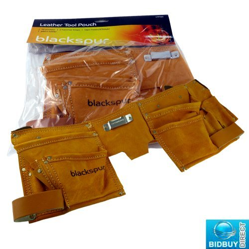 Bid Buy Direct Brand New - 10 Pocket Leather Tool Pouch - Ideal For Carrying Tools Like Punches, Hammers, Measuring Tape And Pliers