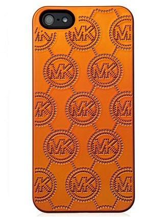 Michael Michael Kors Tech Monogram Embossed Plastic Electronics Cover For Iphone 5, Tangerine front-714508