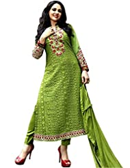 CrazeVilla Women Green Color Georgette Embroidered Salwar Suit.
