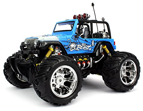 Velocity Toys Graffiti Jeep Wrangler Remote Control RC Truck 1:16 Scale Big Size Off Road Monster Truck Ready To Run, (Colors May Vary)