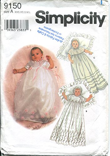 Simplicity Sewing Pattern 9150 Babies Christening Gown, Slip and Bonnet XXS-L (Christening Gown Sewing Pattern compare prices)