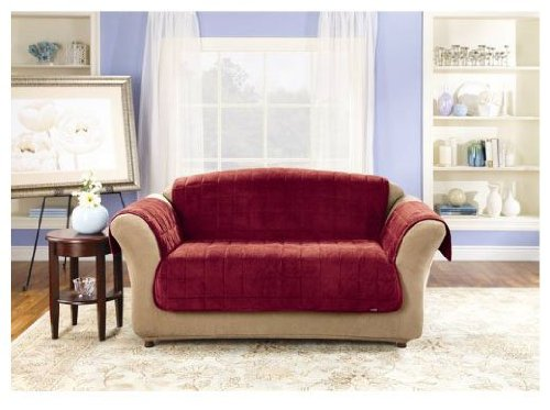 Sure Fit Deluxe Pet Cover Loveseat Slipcover Burgundy
