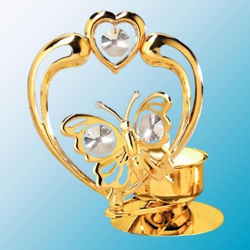 Butterfly in Heart Tea-Light..... With Clear Swarovski Austrian Crystal - 1