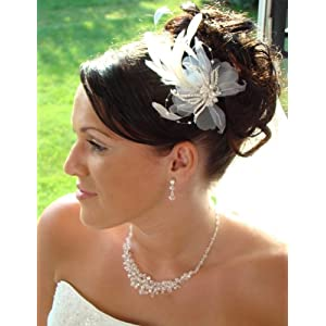 Vintage Feather Fascinator Headpiece IVORY Bridal Hair Accessories