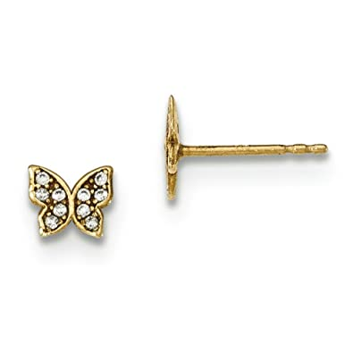 14ct Gold Polished CZ Butterfly Childrens Post Earrings