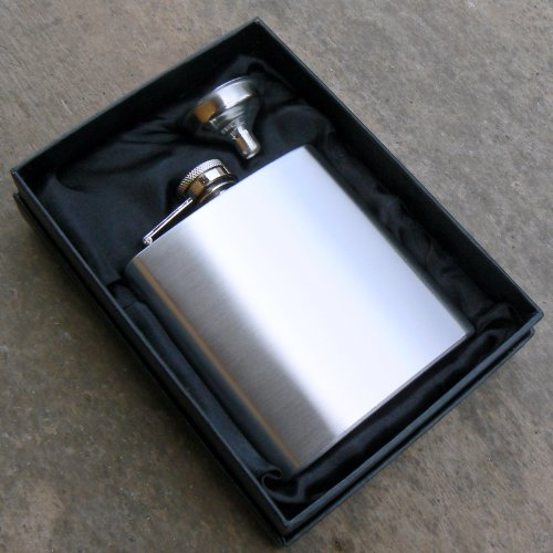 Drinks Are On Me Steel 6oz Hip Flask Gift, Engraved Free With Your Message, Includes Gift Box & Funnel
