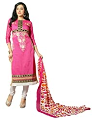 Surat Tex Pink Color Embroidered Chanderi Cotton Un-Stitched Dress Material - B017RAVIL0
