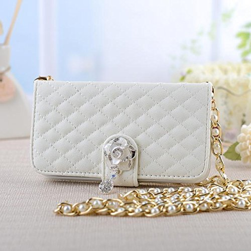 Fashion Diamond Lattice Cell Phone Pouch Folio Flip Pu Leather Case Wallet Cover For Samsung Galaxy Note3 N900 N9000 With Multiple Id Card Holders & Long Strap & Money Pocket & Bling Flower Design - White