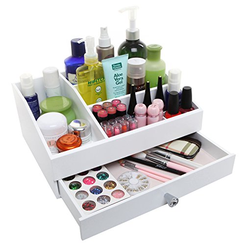 Desktop Shabby Chic Wood Cosmetic Makeup Organizer Box, Jewelry Vanity Tray w/ Storage Drawer, White (Wooden Vanity Tray compare prices)