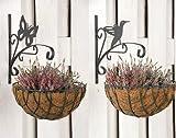 2x Blumenampelhaken Vogel und Schmetterling Haken für Blumenampel Ampelhaken Blumenampelhalter