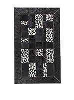 CarpeTrade Alfombra Leather Patchwork (Negro/Blanco)