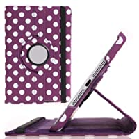 iPad Mini Case, iPad mini 2/3 Case - VAMVAZ 360 Rotating PU Leather Stand Case Folio Flip Cover for iPad Mini 7.9 Inch iPad Mini 2 & 3 Lovely Polka Dots Pattern (Purple) from VAMVAZ