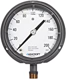Ashcroft Duragauge Type 1379 Solid Front Aluminum Case Glycerin Filled Pressure Gauge, 316 Stainless Steel Bourdon Tube and Tip, 316 Stainless Steel Socket, 4-1/2