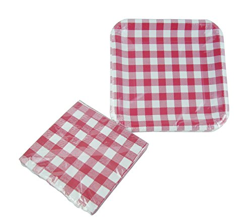 Red and White Checkered Gingham Square Plates and Napkins Serves 14