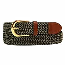 Luxury Divas Black Beige Braided Elastic Stretch Leather Tipped Belt Medium