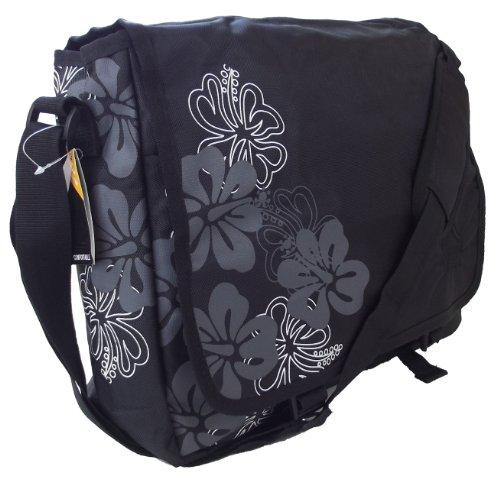 Black and white floral print Large A4 size Courier bag or shoulder sling style girls satchel / CABIN APPROVED travel bag