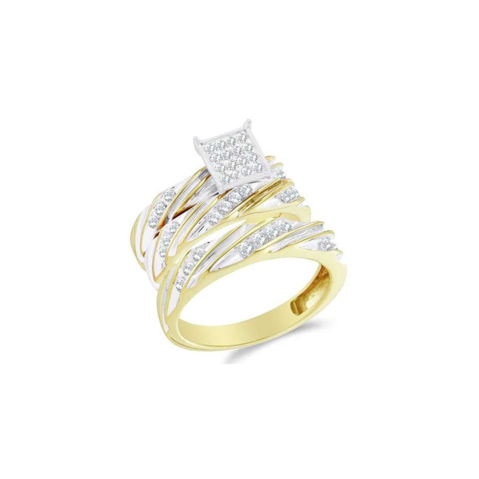 Size 5   10K Two Tone Gold Diamond Mens and Ladies His & Hers Trio 3 Three Ring Bridal Matching Engagement Wedding Ring Band Set   Square Princess Shape Center Setting w/ Pave Channel Set Round Diamonds   (2/3 cttw)   SEE PRODUCT DESCRIPTION TO CHOOSE BO