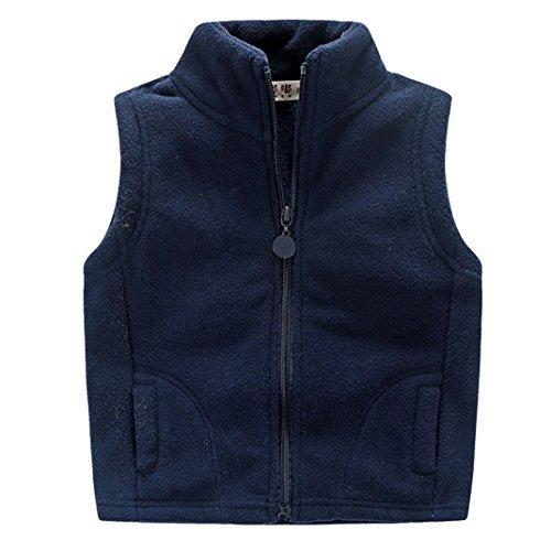 Aivtalk Boys' Fleece Vests Zipper Pocket Warmth Waistcoat Outwear Blue 7T