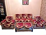 MAHAK CHENILLE MAROON SOFA SLIPCOVER SET WITH 6 ARMS COVER