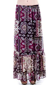Lined Paisley Print Skirt in Purple