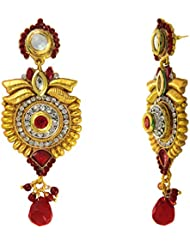 Traditional Ethnic Green Red Round Floral Gold Plated Dangler Earrings With Crystals For Women By Donna ER30108G