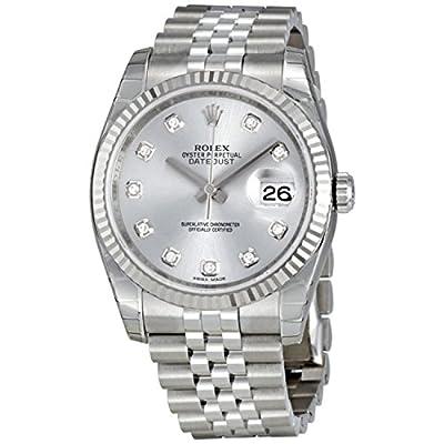 Rolex Datejust Rhodium Diamond Dial 18kt White Gold Fluted Mens Watch 116234RDJ