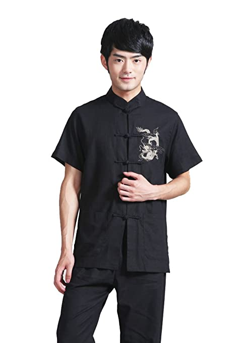 JTC Cotton Men Short Sleeve Shirt Sport Top Chinese Kong Fu Tai Chi Costume