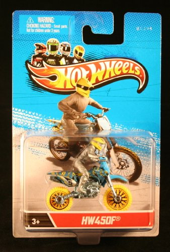 HW450F (Blue & Yellow) * MOTORCYCLE & RIDER * Hot Wheels 1:64 Scale 2012 Die-Cast Vehicle - 1