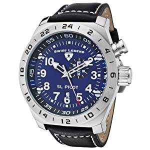 Swiss Legend Men's Quartz Watch with Blue Dial Analogue Display and Black Leather Strap SL-22827-03