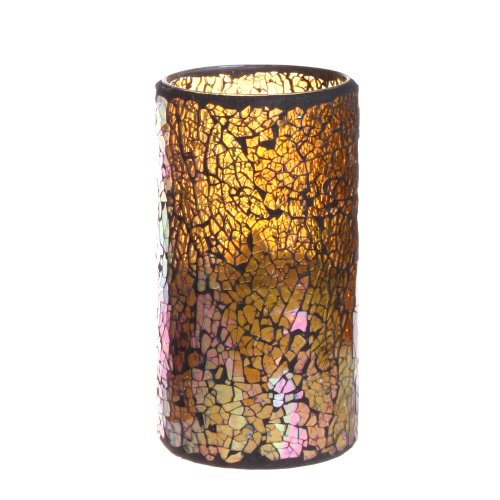 Dfl 3*4 Inch Lightyellow Crack Pattern Mosaic Glass With Flameless Led Candle With Timer,Work With 2 Aa Battery
